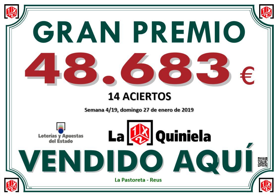Cartel premio Quiniela